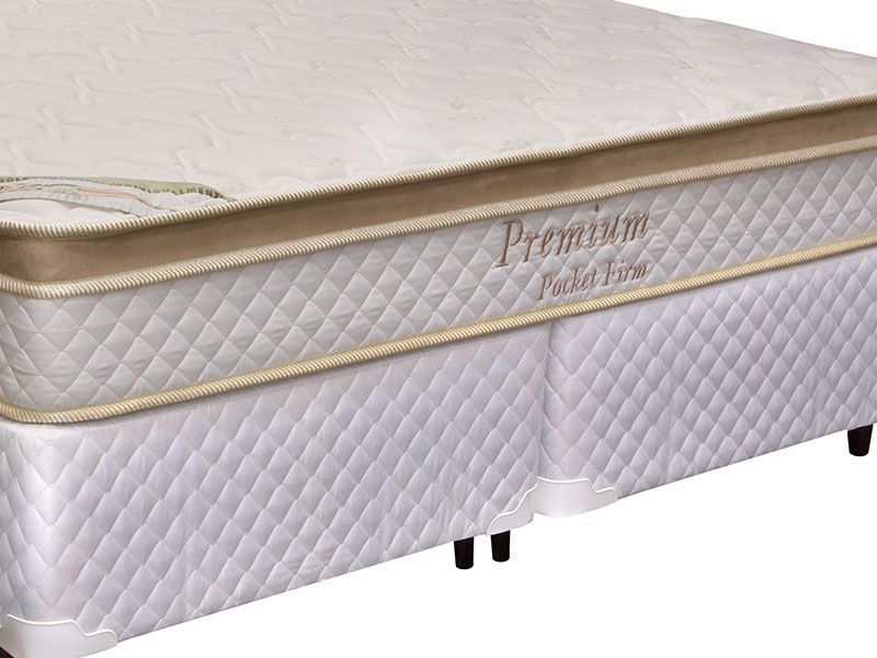 Conjunto Box: Colchão  Herval Pocket Premium Firm + Cama Couríno White
