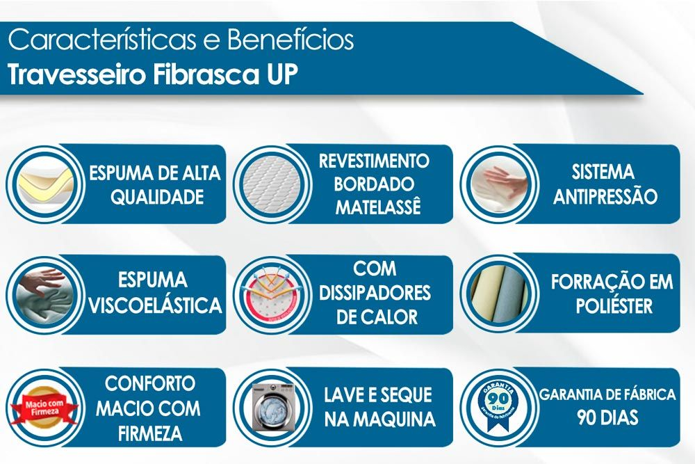 Travesseiro Fibrasca UP Suporte Ideal Espuma Air Flow System