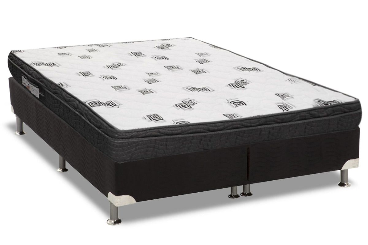 Conjunto Box: Colchão Ortobom Espuma D45 Light Ortopilow + Cama Box Nobuck Black