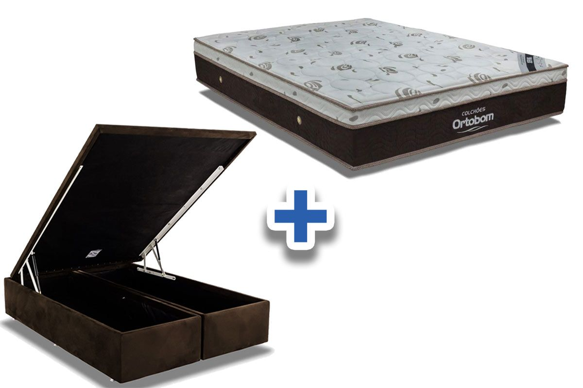 Conjunto Box Baú : Colchão Ortobom Molas Pocket Sleep King Látex + Cama Box Nobuck Rosolare Café