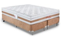 Conjunto Box: Colchão Orthocrin Pocket Splendor  + Cama Nobuck Cafe