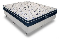 Conjunto Box: Colchão Ortobom Pocket  Ventura Blue + Cama Couríno White