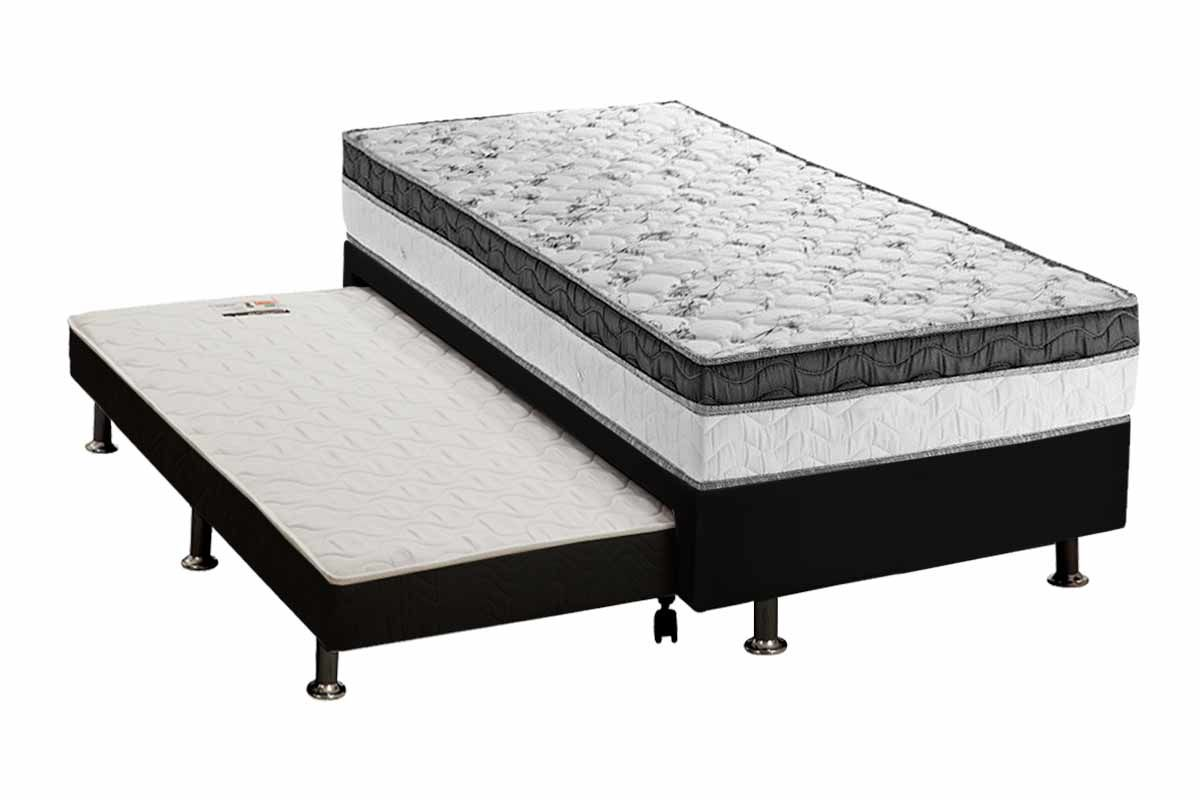 Conjunto 3 em 1 (Cama Box + Cama Auxiliar Courino Nero Black Ortobom) + (Colchão Ortobom Pocket Physical)